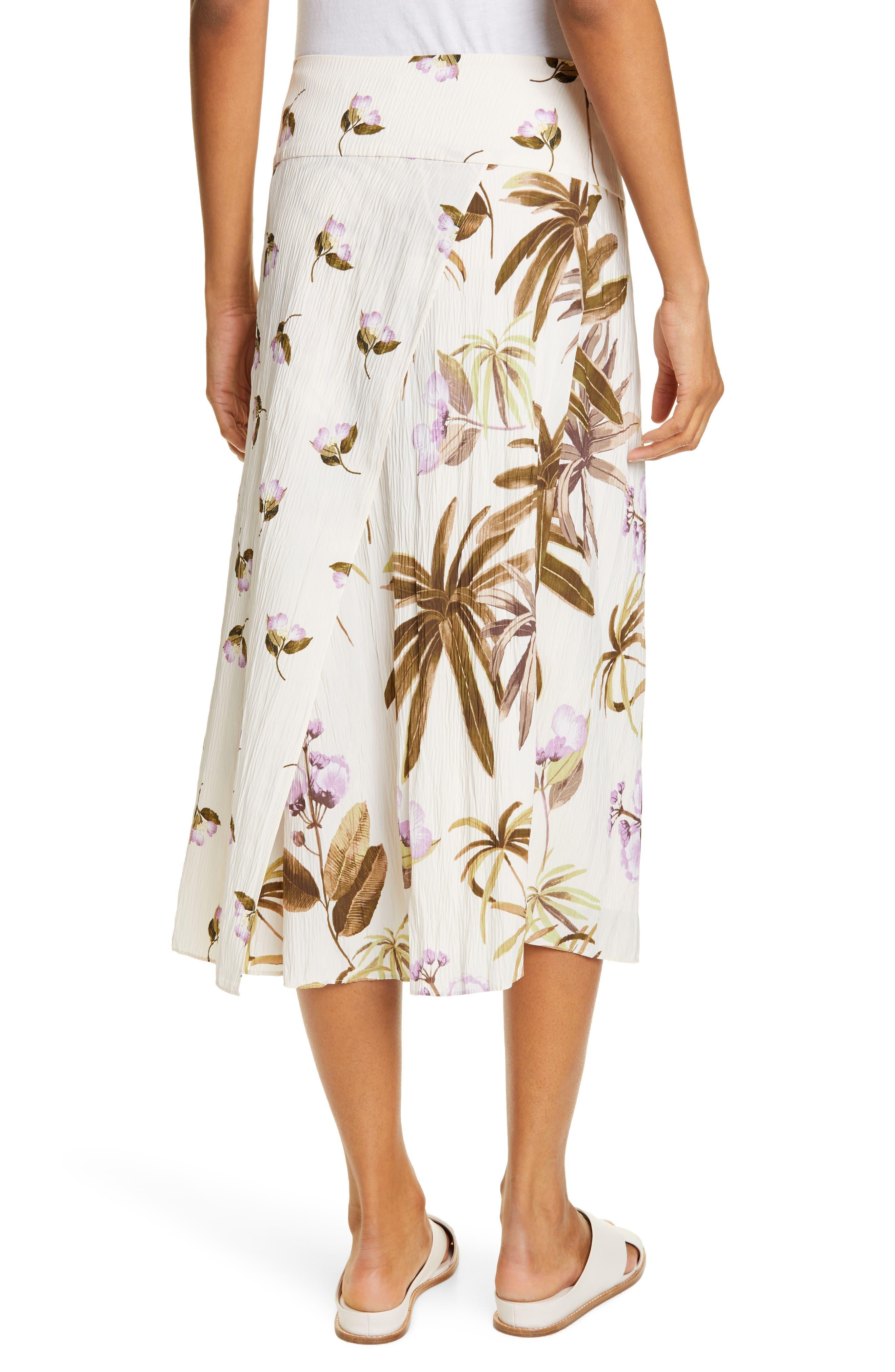 Vince Skirts Mixed Tropical Garden Midi Skirt