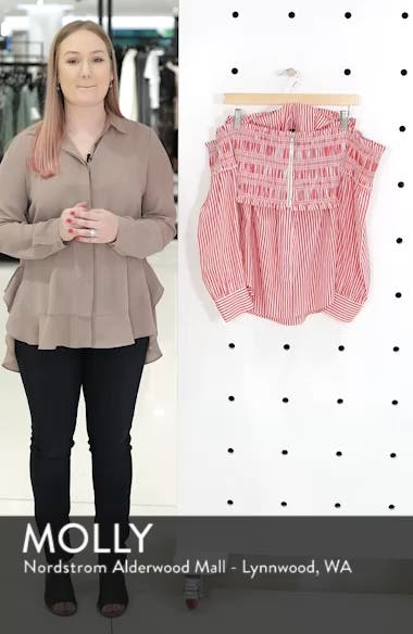 Stripe Smocked Corset Shirt, sales video thumbnail