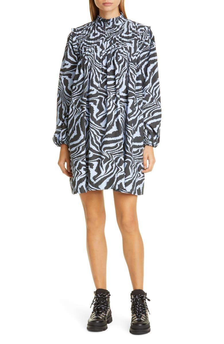 GANNI Tiger Stripe Long Sleeve Babydoll Minidress, Main, color, FOREVER BLUE