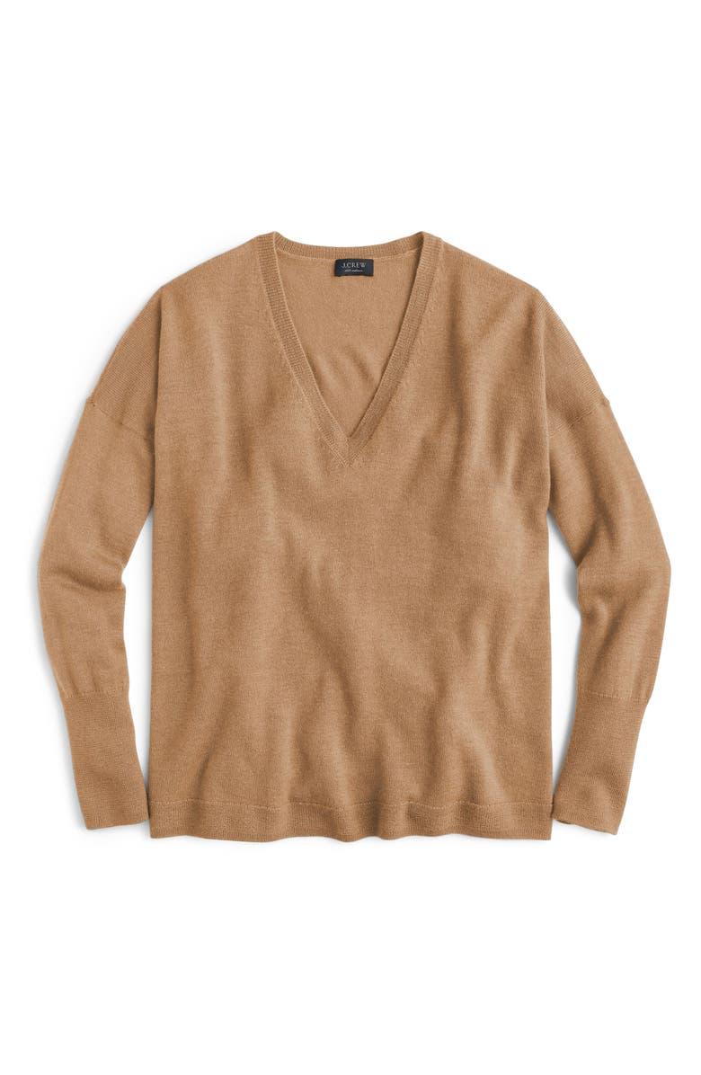 J.CREW V-Neck Boyfriend Cashmere Sweater, Alternate, color, HEATHER CAMEL