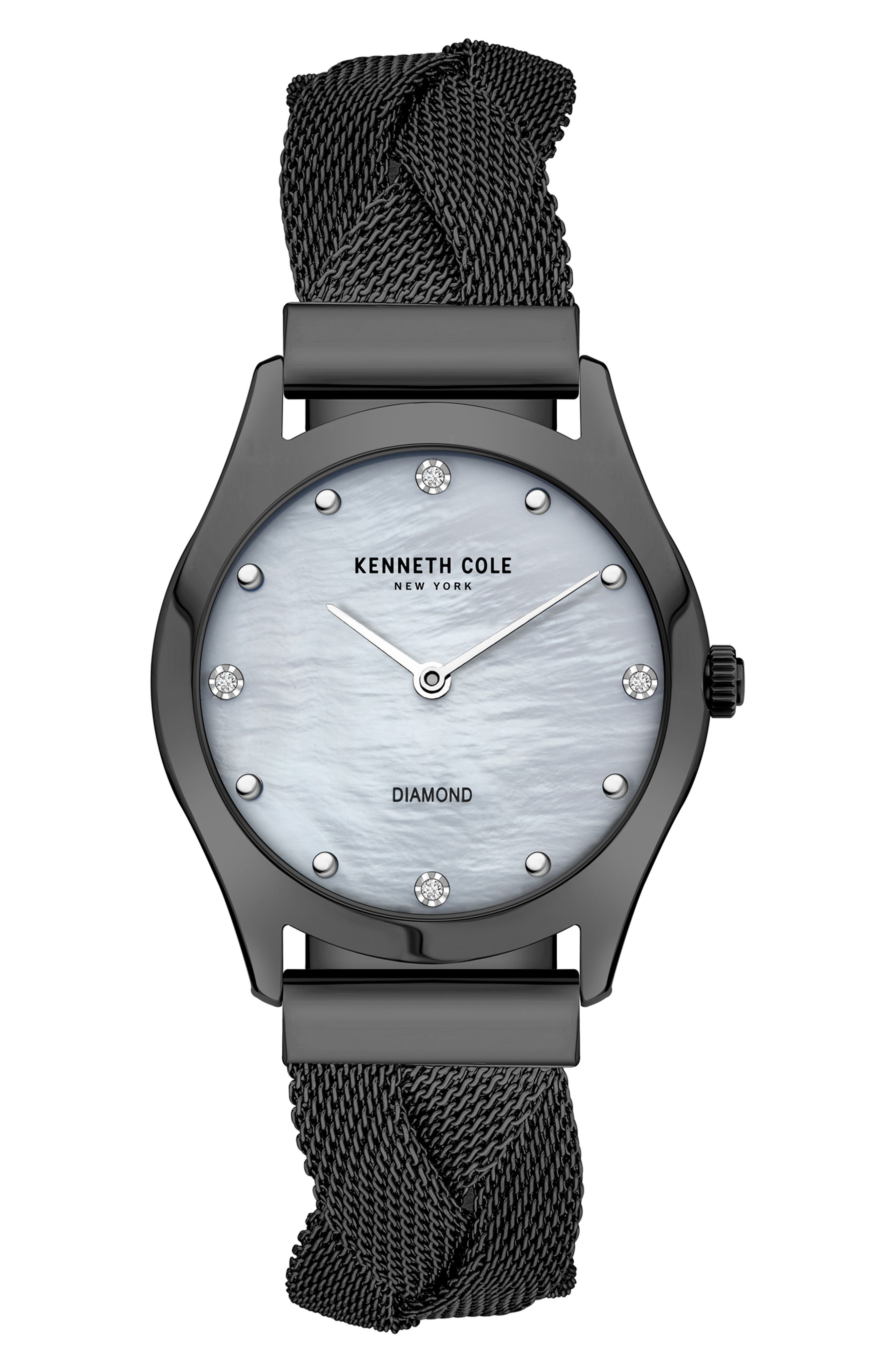 Diamond Accent Braided Mesh Bracelet Watch