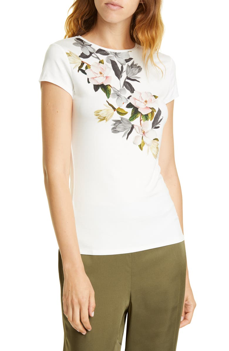 TED BAKER LONDON Torina Opal Floral Graphic Tee, Main, color, WHITE