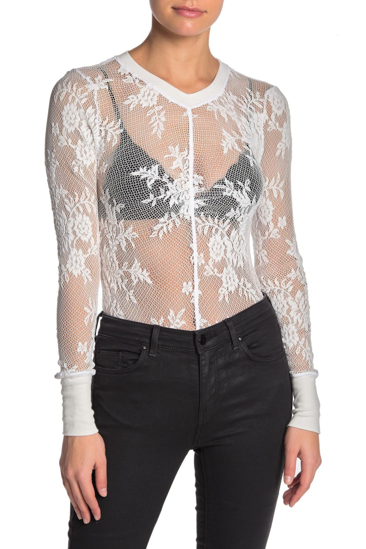 Image of Free People Lace Knit Long Sleeve Layering Top