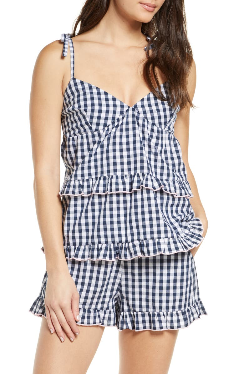 PROJECT REM Frill Short Cotton Pajamas, Main, color, NAVY GINGHAM