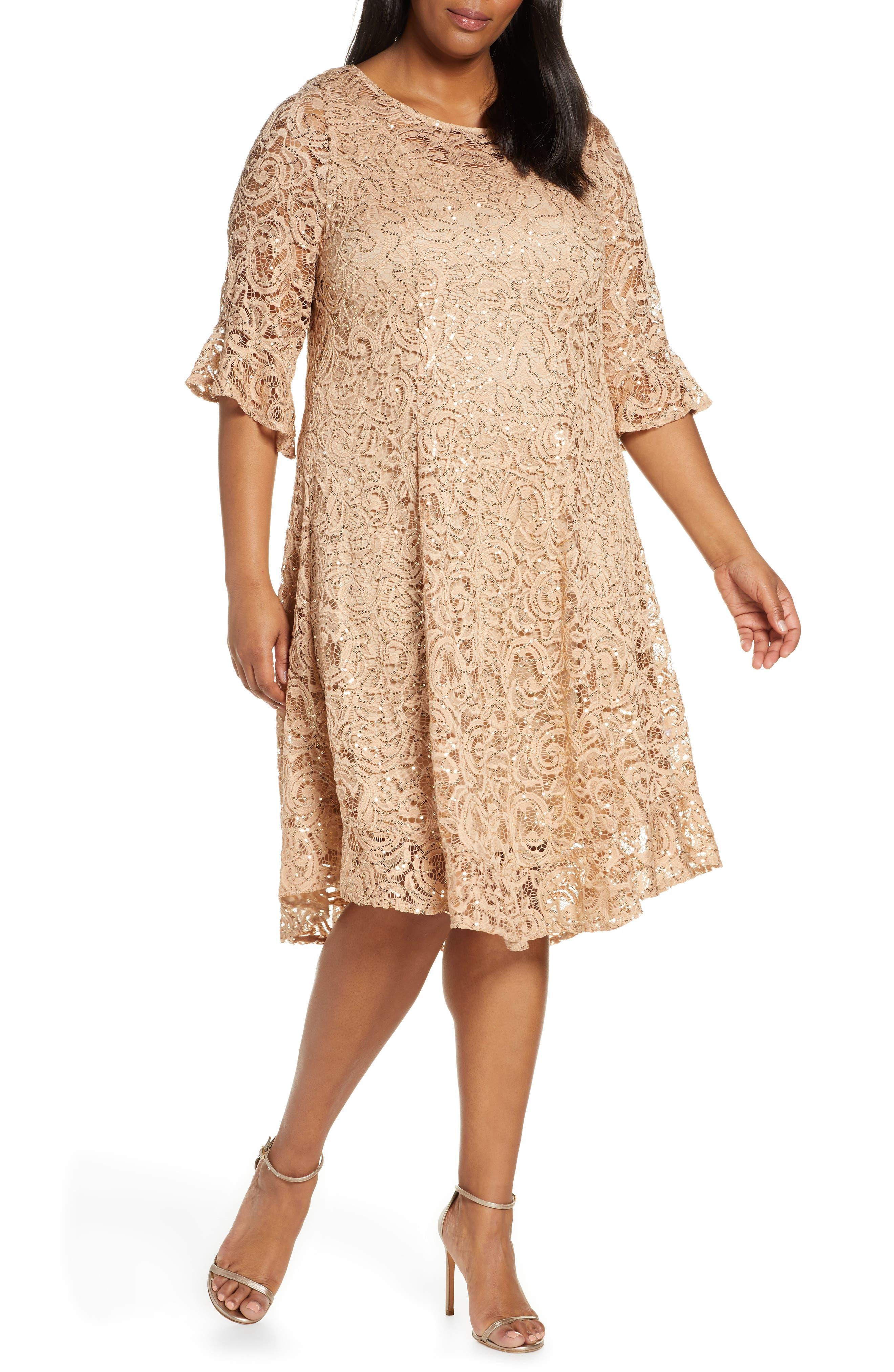 Plus Size Vintage Dresses, Plus Size Retro Dresses Plus Size Womens Kiyonna Sofia Sequin Lace Cocktail Dress $164.00 AT vintagedancer.com