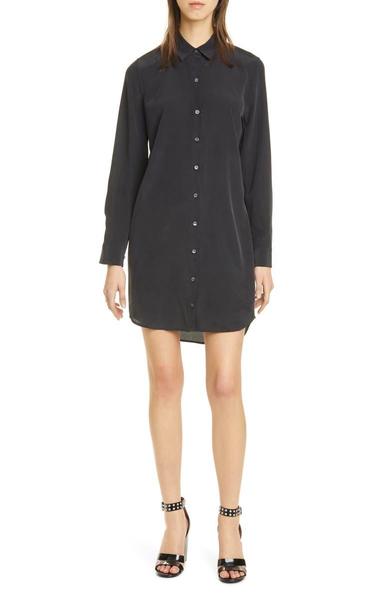 EQUIPMENT Essential Long Sleeve Silk Shirtdress, Main, color, 001
