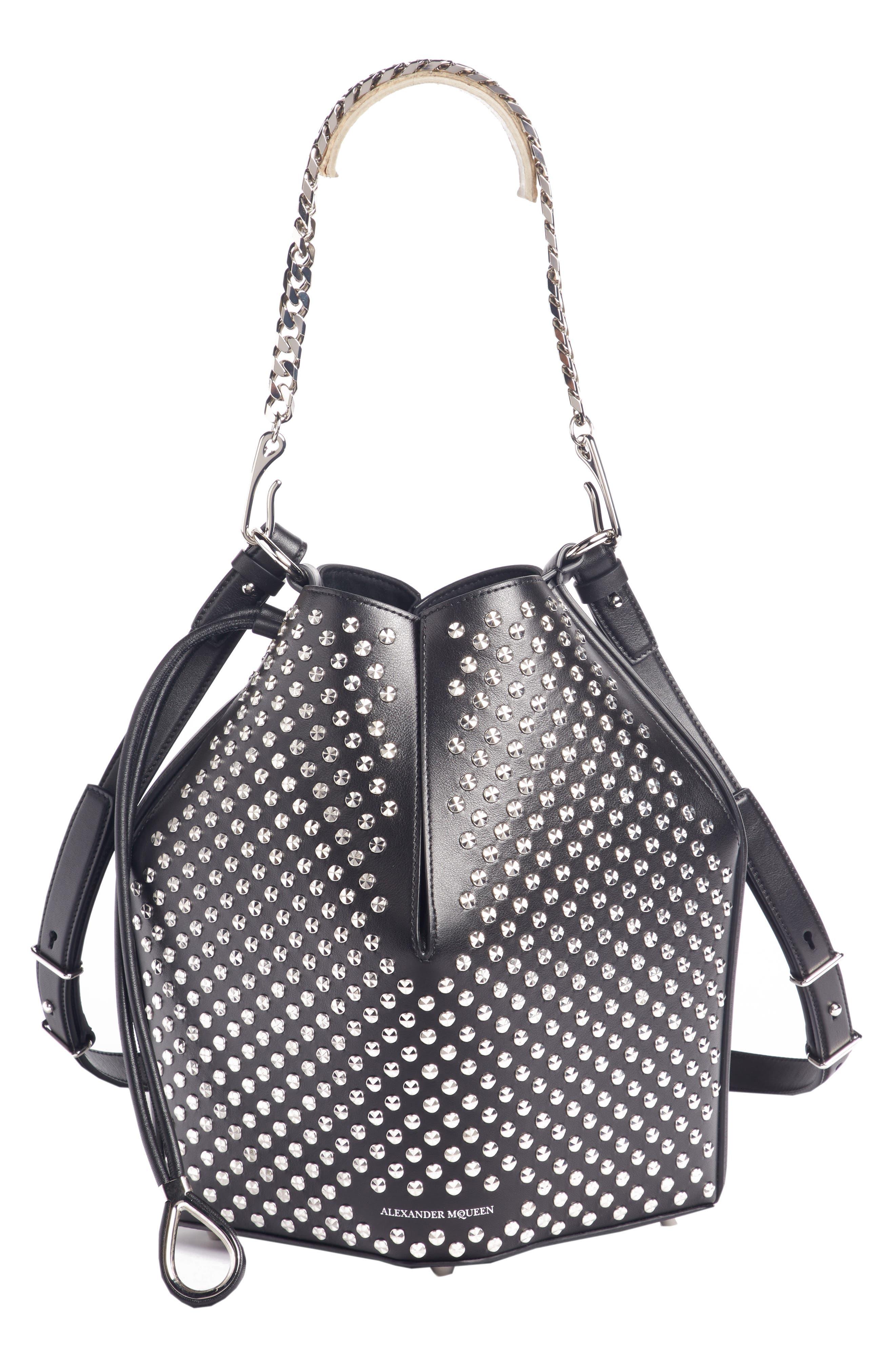Studded Leather Bucket Bag, Main, color, BLACK