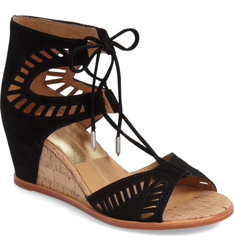 DOLCE VITA 'Linsey' Lace-Up Wedge Sandal, Main, color, 001
