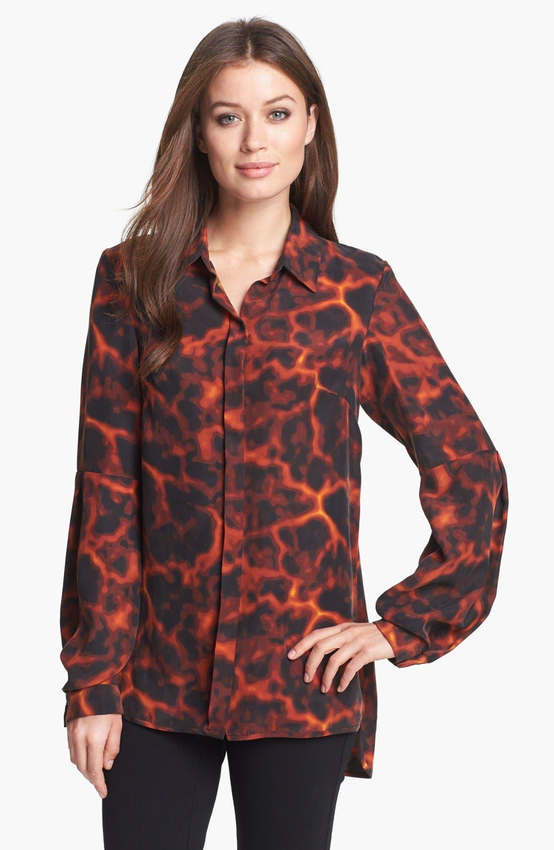 Rachel Roy Tortoise Print Silk Shirt, Main, color, 601