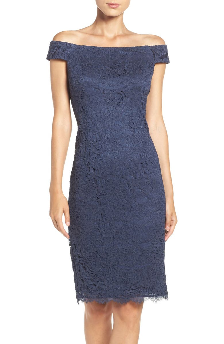 216434bd Adrianna Papell Off-the-Shoulder Lace Sheath Dress | Nordstrom