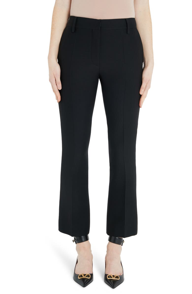 VALENTINO Wool & Silk Ankle Pants, Main, color, BLACK