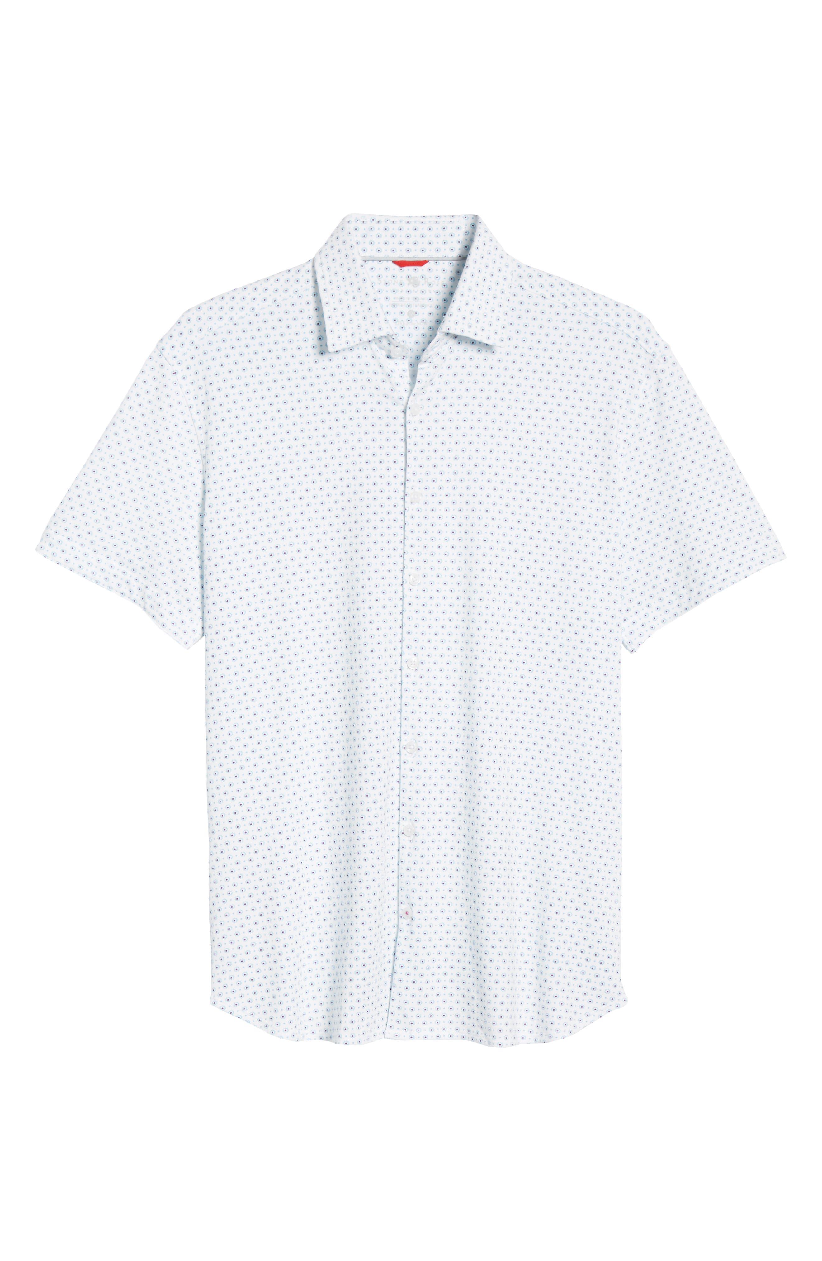 ,                             Regular Fit Geo Print Performance Knit Sport Shirt,                             Alternate thumbnail 5, color,                             LIGHT BLUE