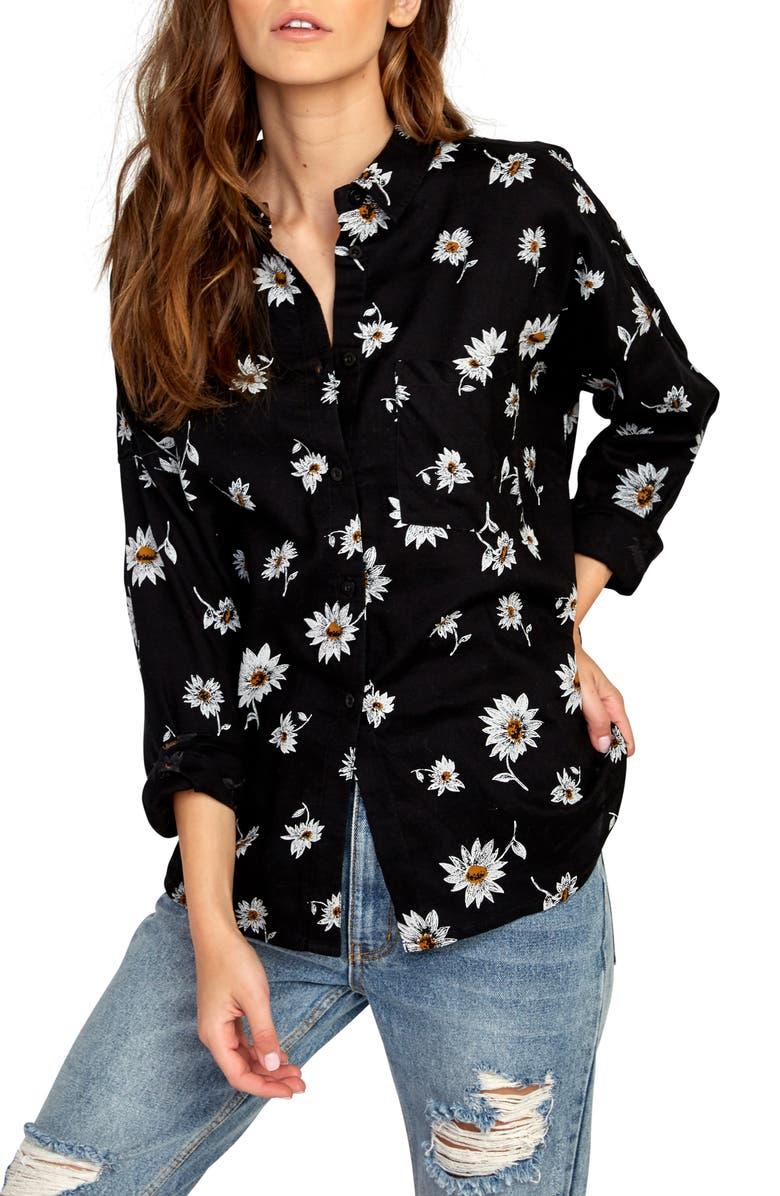 RVCA Hera Print Shirt, Main, color, BLACK