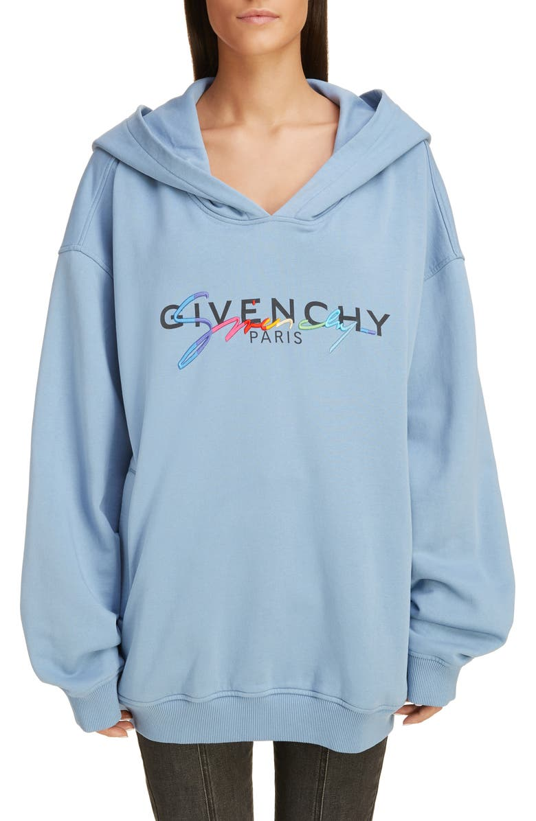 GIVENCHY Rainbow Logo Hooded Sweatshirt, Main, color, SKYBLUE