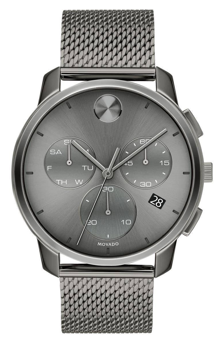 MOVADO Bold Chronograph Mesh Strap Watch, 42mm, Main, color, GUNMETAL