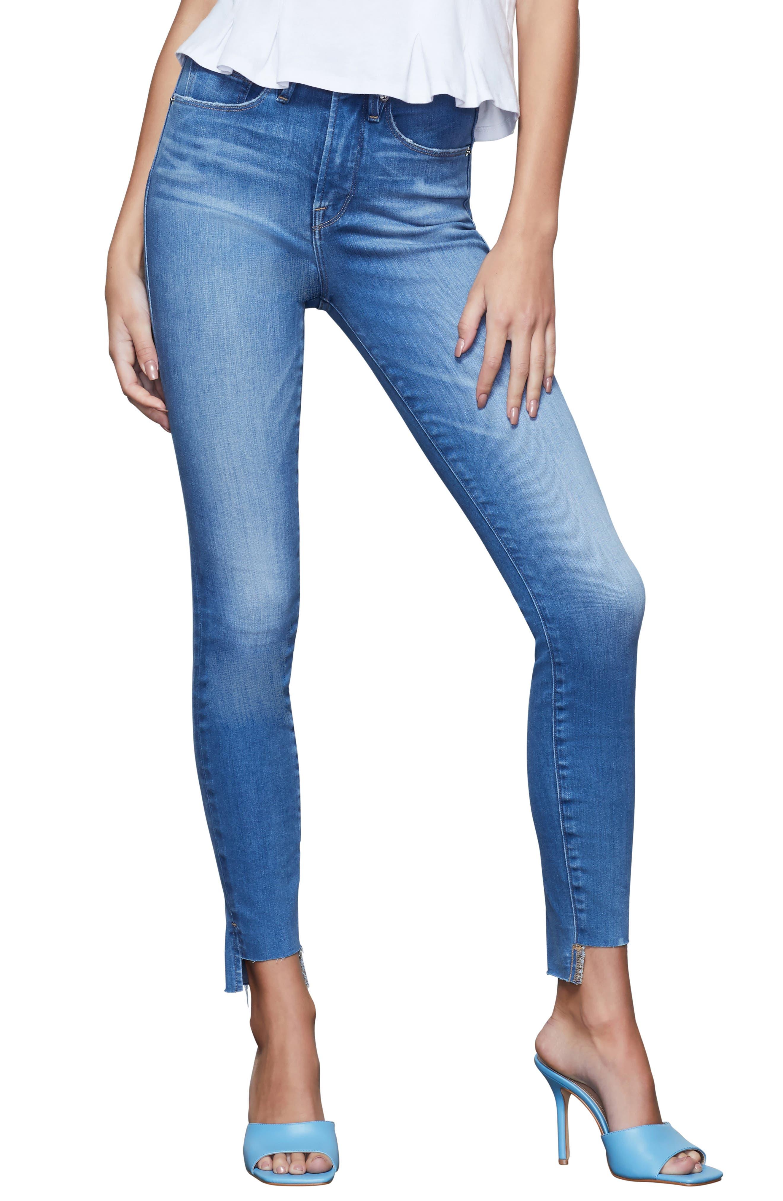 Women's Good American Good Waist High Waist Step Hem Skinny Jeans