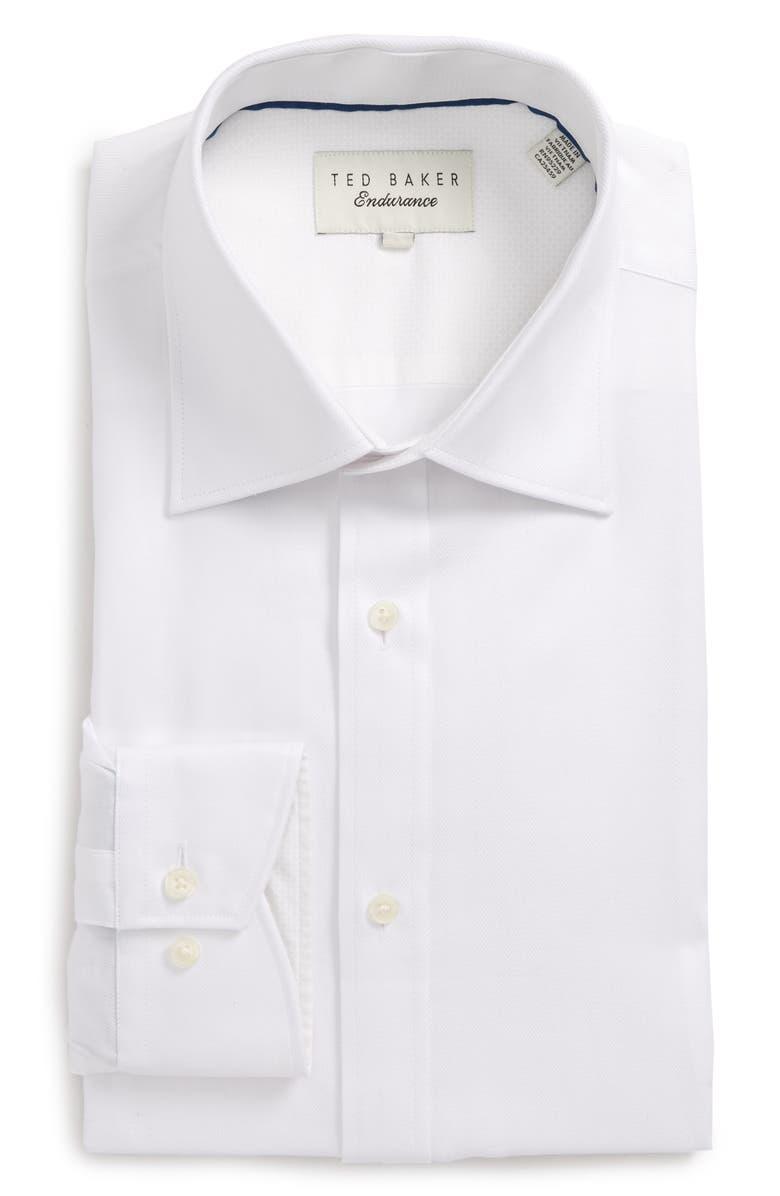 TED BAKER LONDON Endurance Trim Fit Herringbone Dress Shirt, Main, color, 110