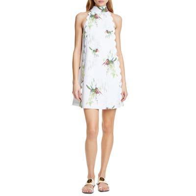 Ted Baker London Toriat Tutti Frutti Scallop Trim Minidress, White