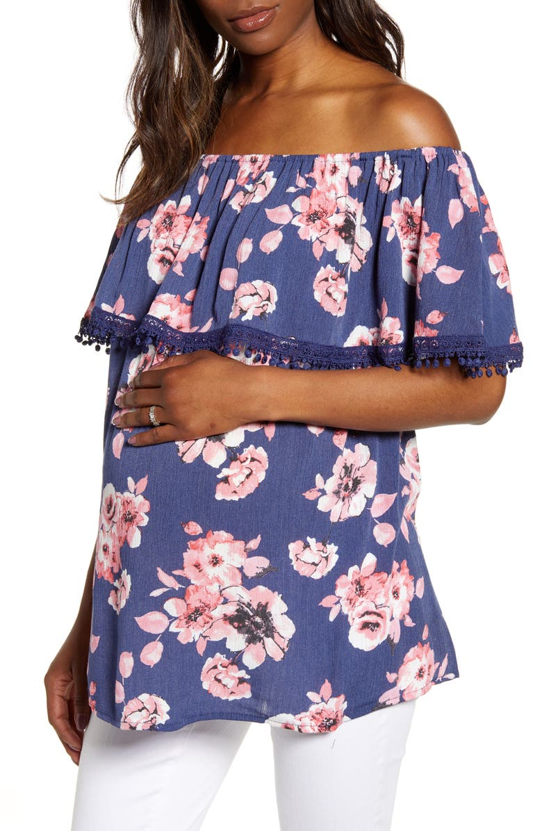 FOURTEENTH PLACE Cha Cha Off the Shoulder Maternity Top, Main, color, NAVY BLOOMS