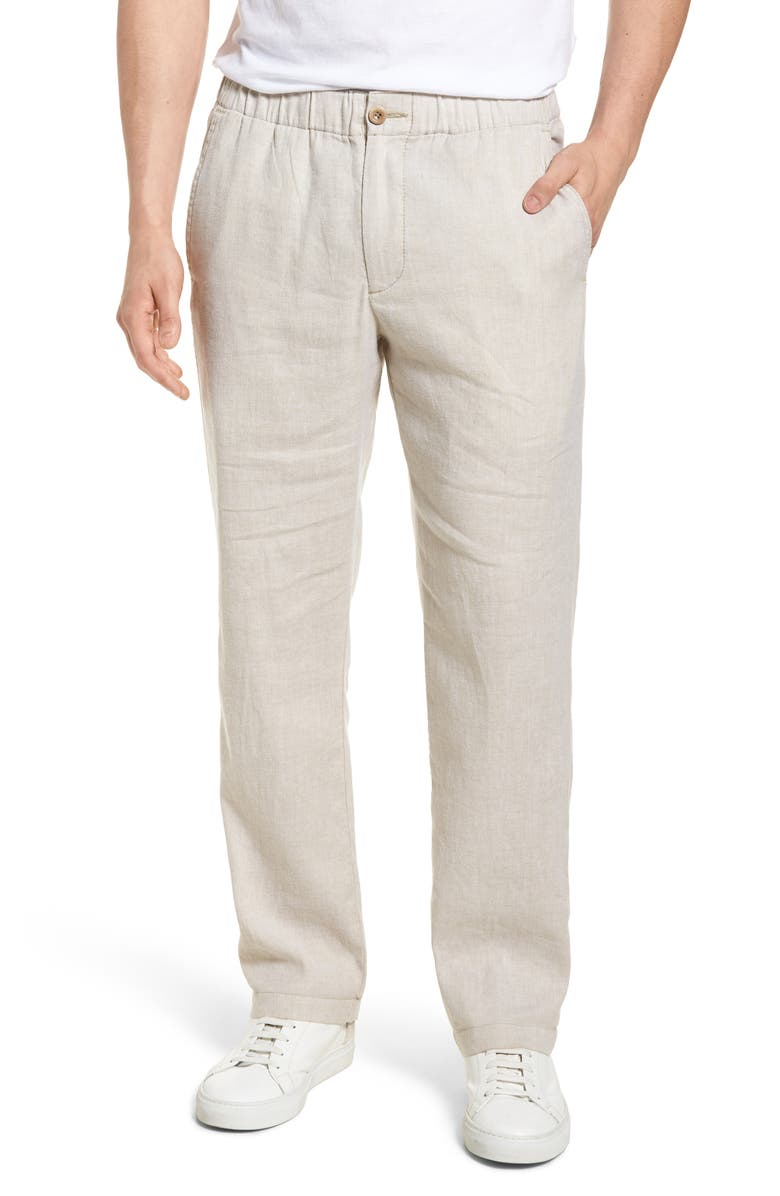 TOMMY BAHAMA Beach Linen Blend Pants, Main, color, STONE KHAKI