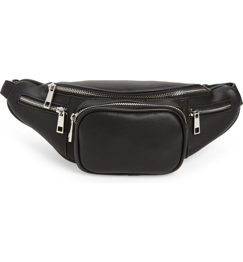 LIKE DREAMS Faux Leather Banana Belt Bag, Main, color, 001