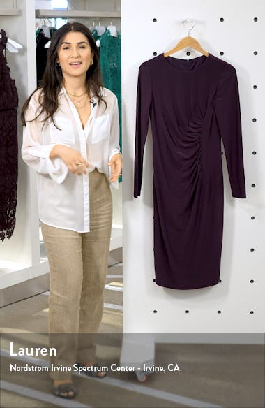 Long Sleeve Ruched Jersey Dress, sales video thumbnail