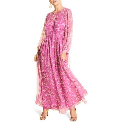 Plus Size Marina Rinaldi Dolce Floral Long Sleeve Silk Chiffon Maxi Dress, Pink
