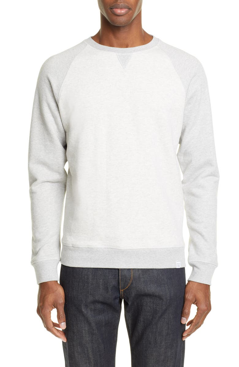 NORSE PROJECTS Ketel Contrast Sweatshirt, Main, color, LIGHT GREY MELANGE