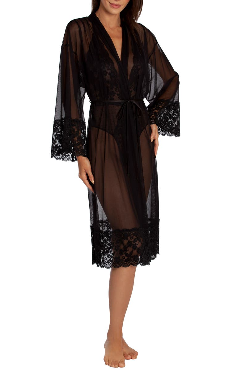 IN BLOOM BY JONQUIL Say Yes Sheer Robe, Main, color, BLACK
