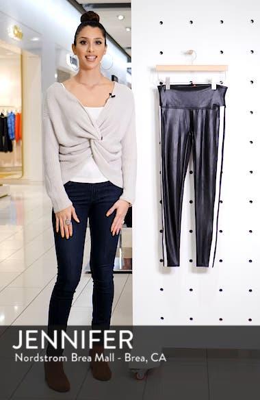 Side Stripe Faux Leather Leggings, sales video thumbnail