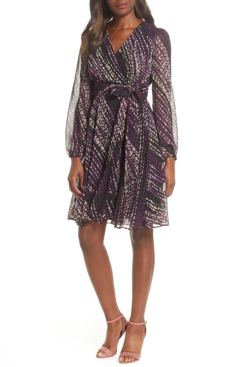 MAISON TARA Long Sleeve Faux Wrap Dress, Main, color, BLACK/ PLUM