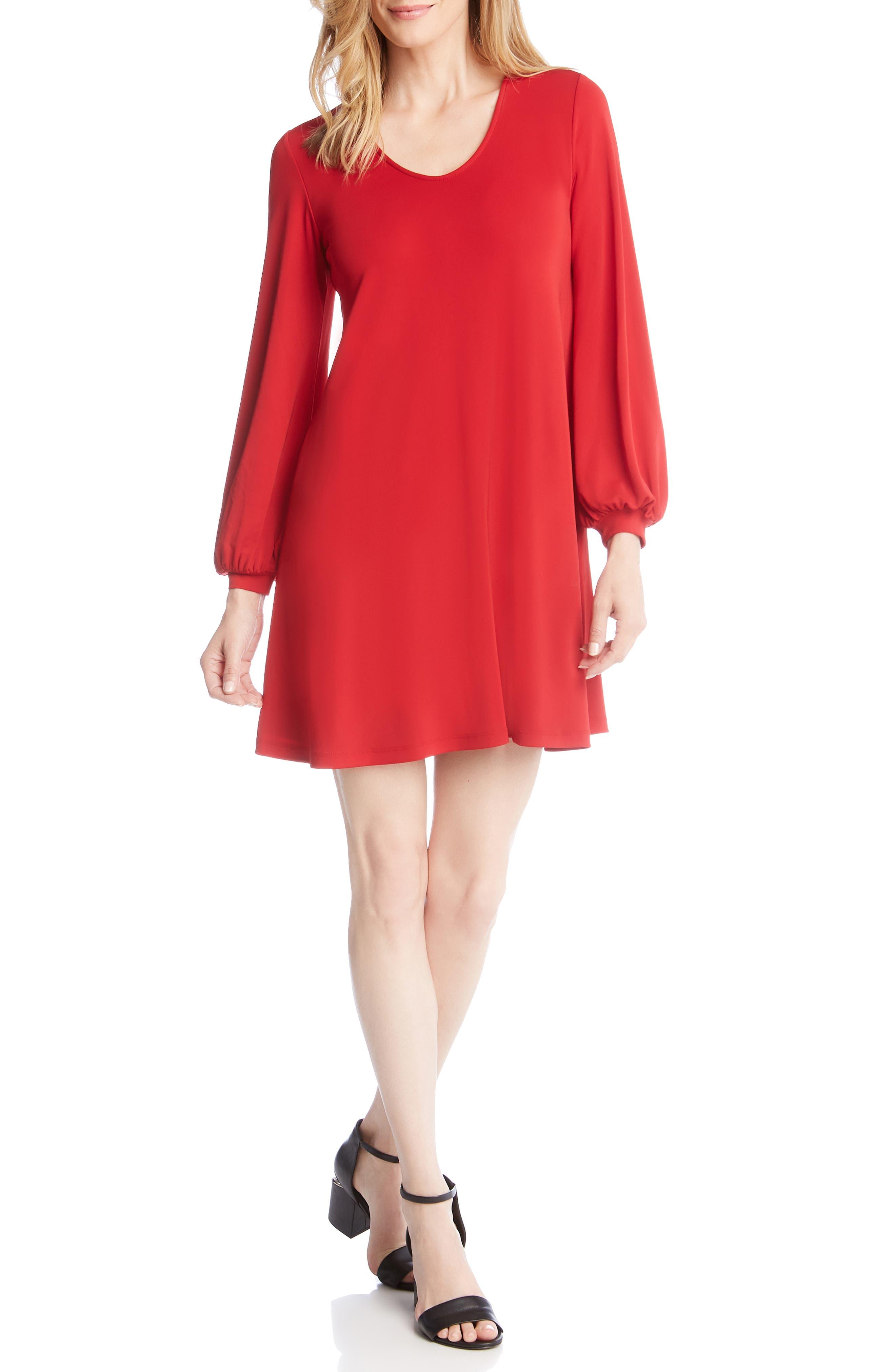 Karen Kane Harper Blouson Sleeve Shift Dress, Red