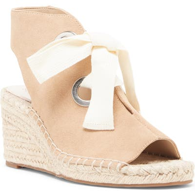 Sole Society Cambrine Lace-Up Wedge Espadrille Sandal- Beige