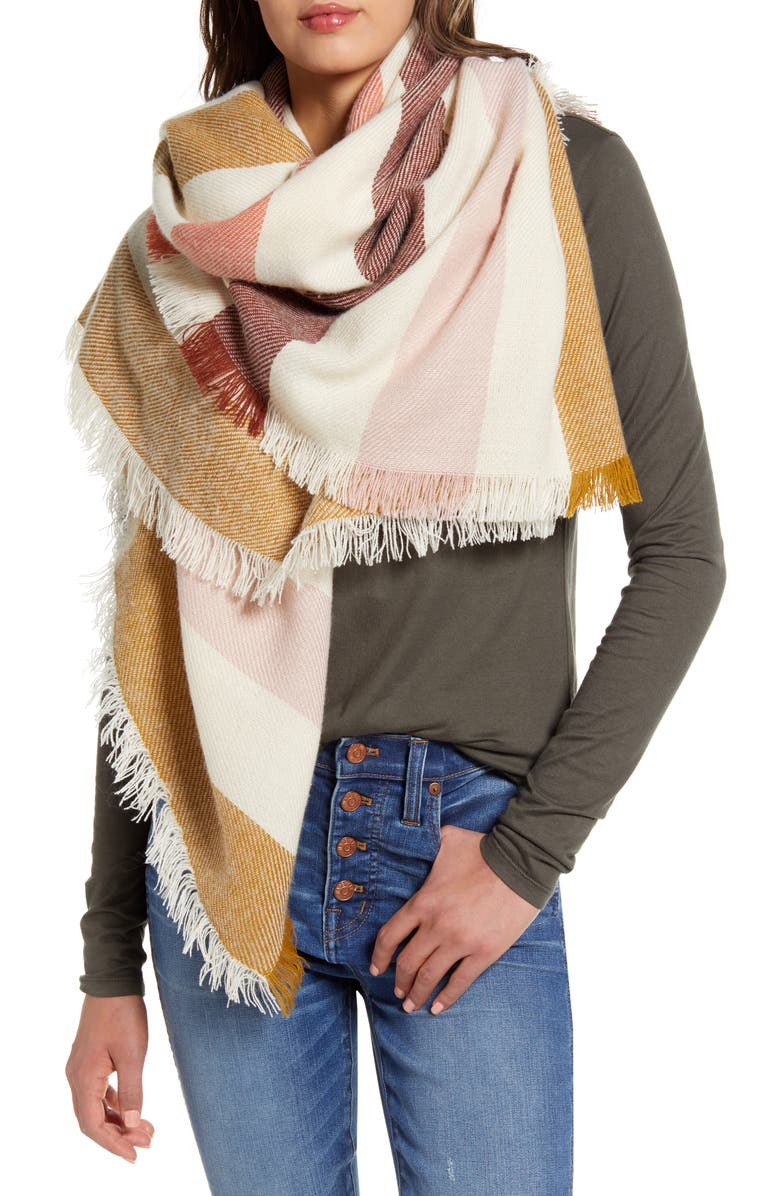 MADEWELL Bold Stripe Blanket Square Scarf, Main, color, BRIGHT BERRY NATURAL