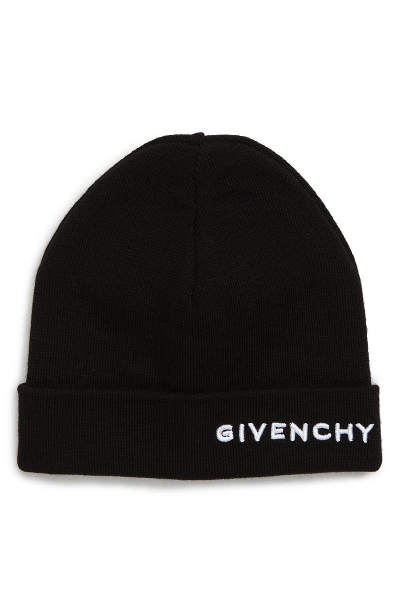 GIVENCHY Embroidered Wool Beanie, Main, color, BLACK/ WHITE EMB