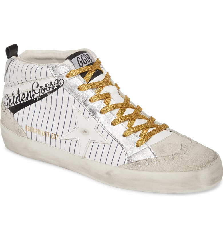 GOLDEN GOOSE Midstar Baseball Logo Sneaker, Main, color, WHITE LEATHER/ GOLD