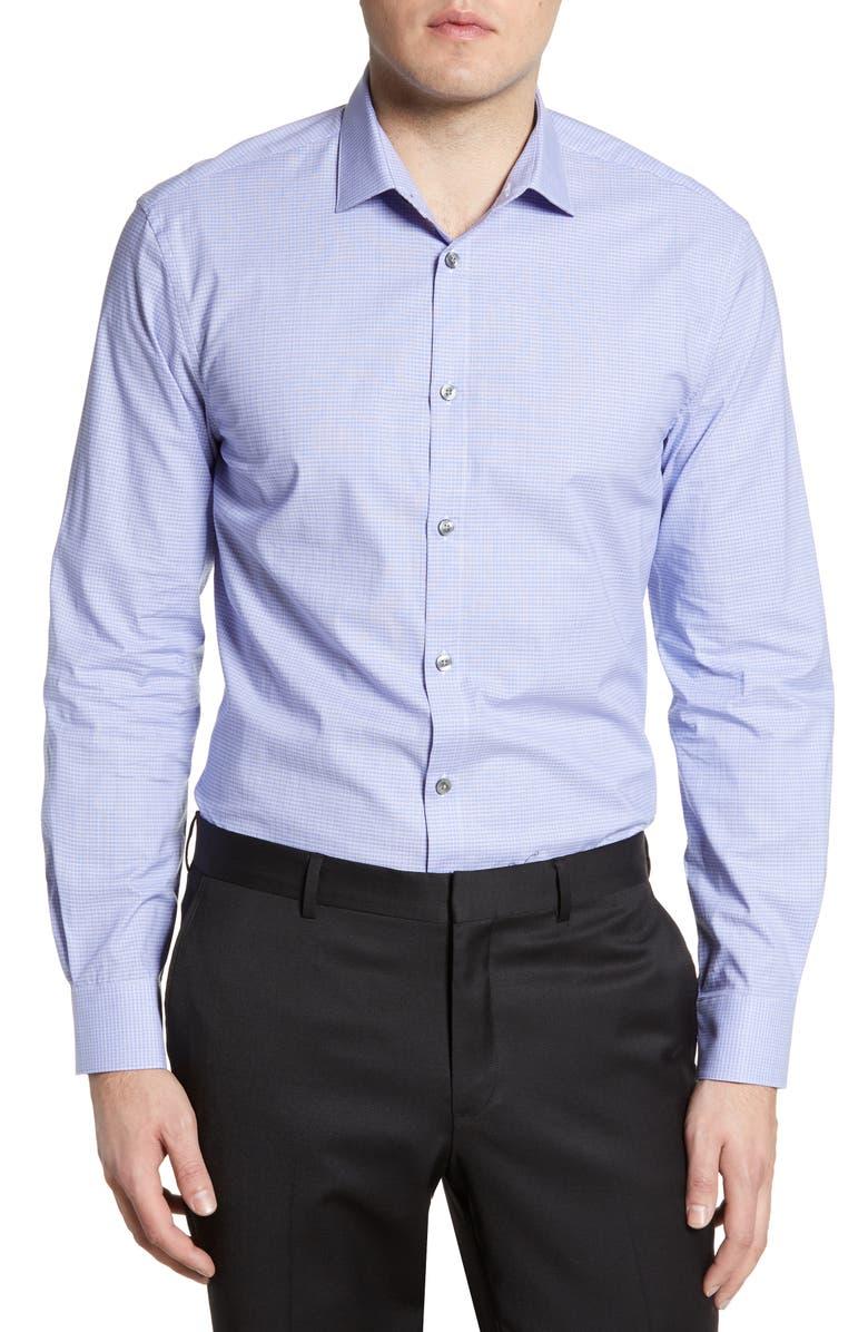 JOHN VARVATOS STAR USA Slim Fit Check Stretch Dress Shirt, Main, color, SAPPHIRE