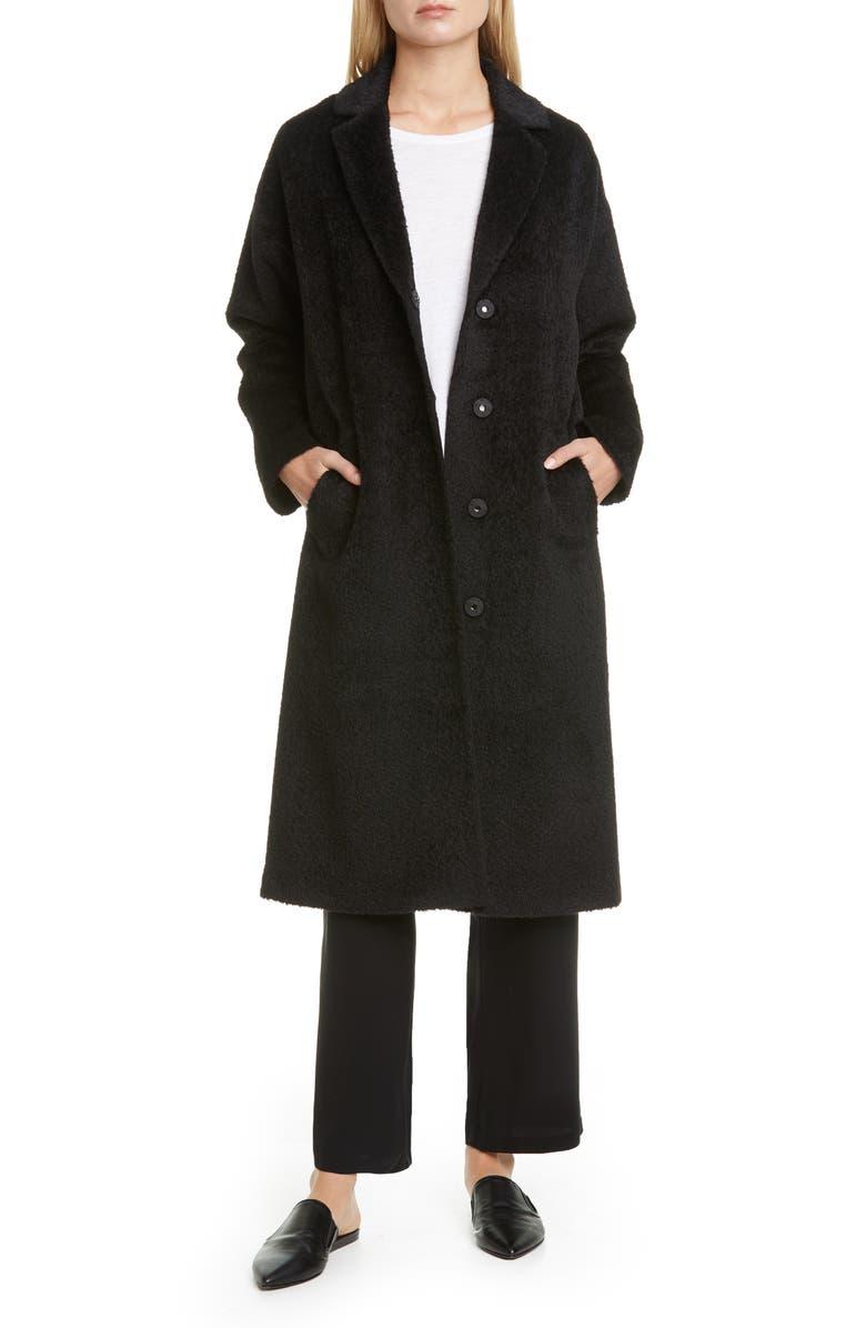 EILEEN FISHER Wool & Alpaca Blend Long Coat, Main, color, 001