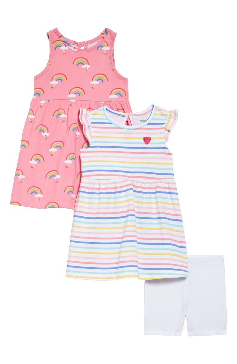 LITTLE ME Rainbow Dresses & Shorts Set, Main, color, PINK