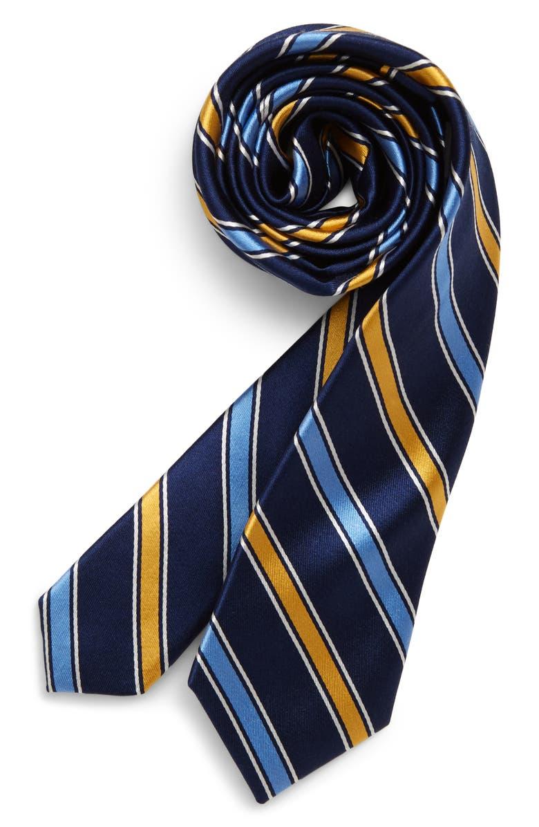 NORDSTROM Nico Stripe Silk Tie, Main, color, YELLOW