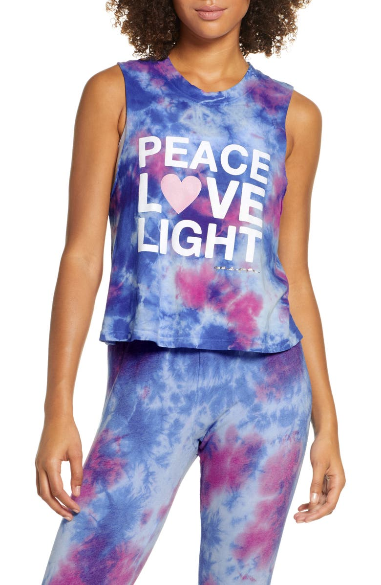 SPIRITUAL GANGSTER Peace Love Light Tie Dye Cotton Crop Tank Top, Main, color, TIE DYE