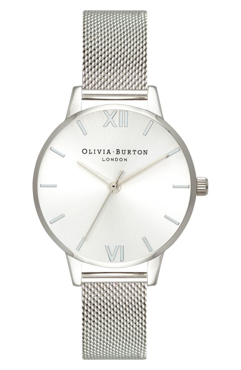 OLIVIA BURTON Sunray Mesh Strap Watch, 30mm, Main, color, SILVER