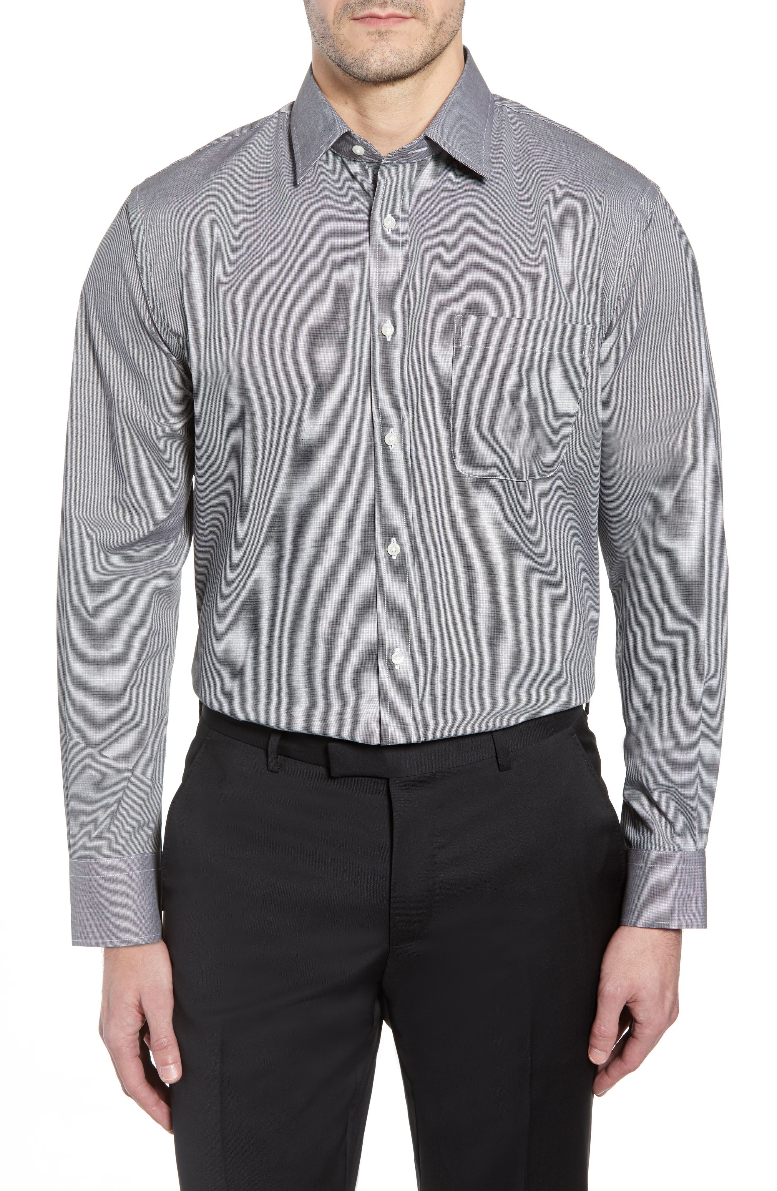 Traditional Fit Non-Iron Dress Shirt, Main, color, BLACK ROCK