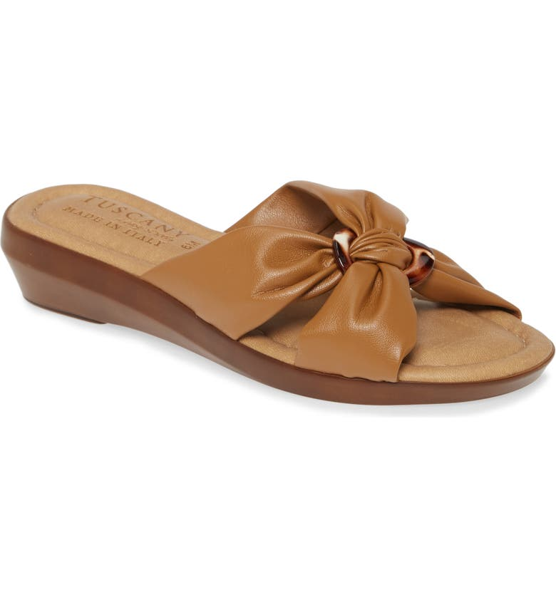 TUSCANY BY EASY STREET<SUP>®</SUP> Cella Wedge Slide Sandal, Main, color, TAN FAUX LEATHER