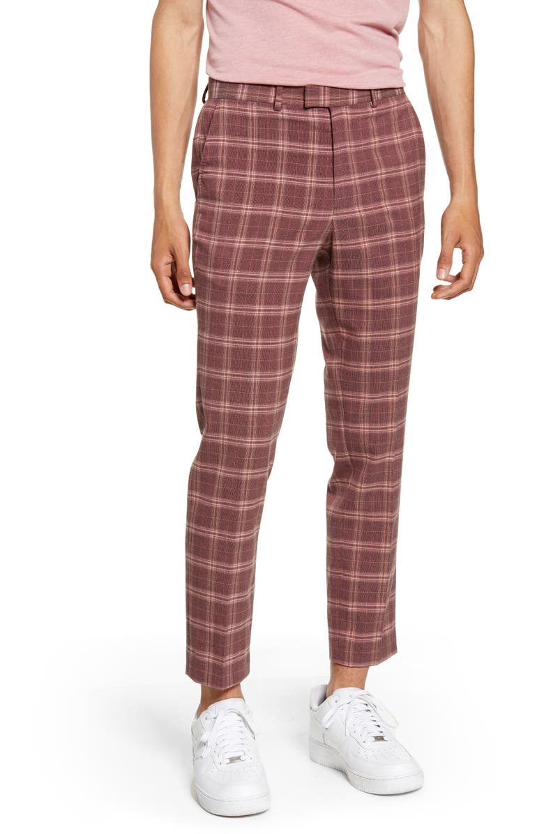 TOPMAN Plaid Skinny Fit Crop Dress Pants, Main, color, 650