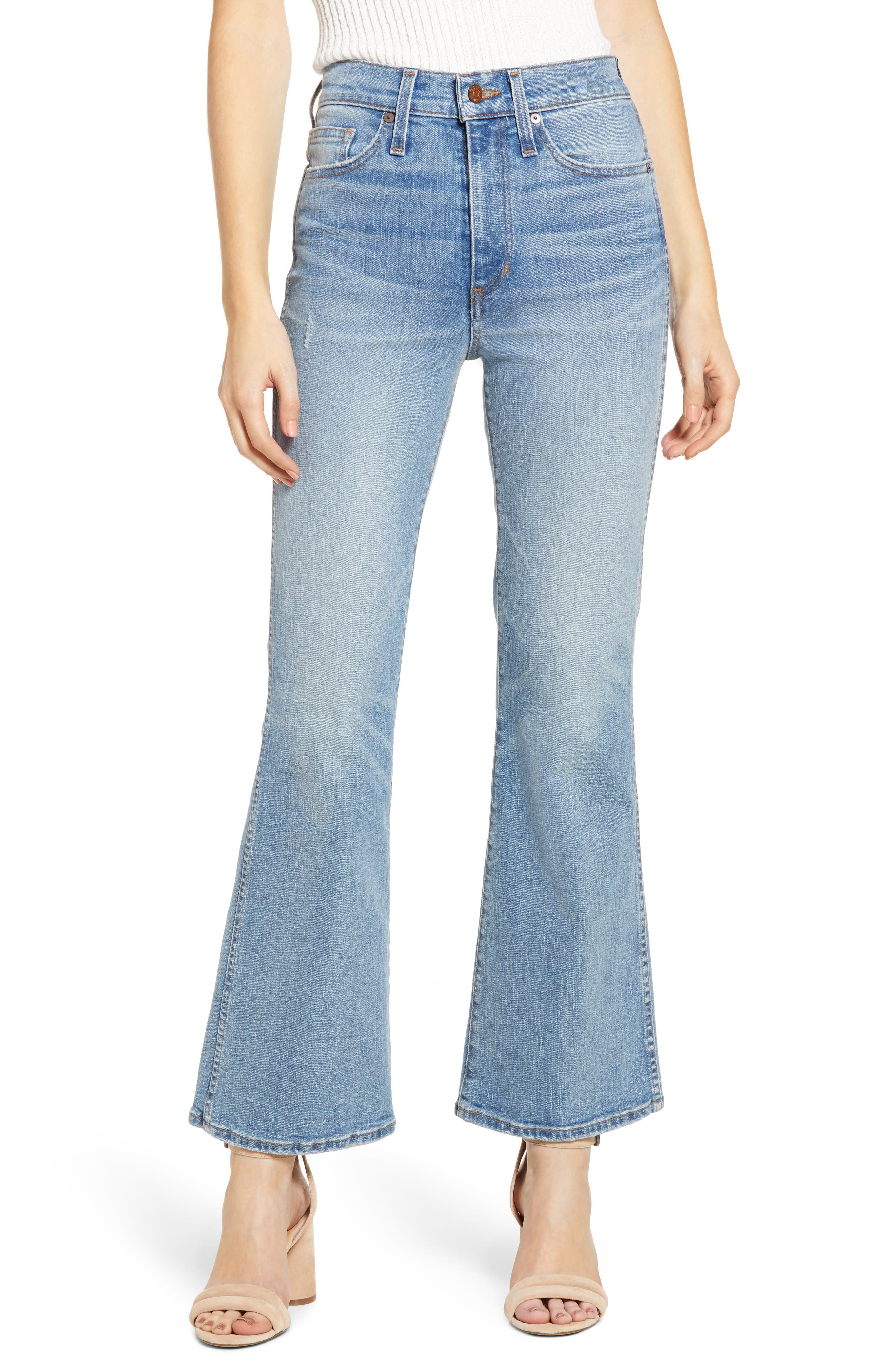 60s – 70s Pants, Jeans, Hippie, Bell Bottoms, Jumpsuits Womens Madewell Retro Flare Jeans Size 28 - Blue $128.00 AT vintagedancer.com