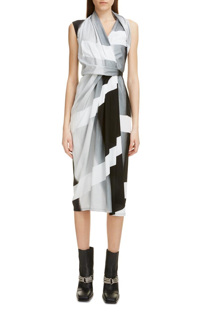 RICK OWENS Stripe Wrap Midi Dress, Main, color, 001