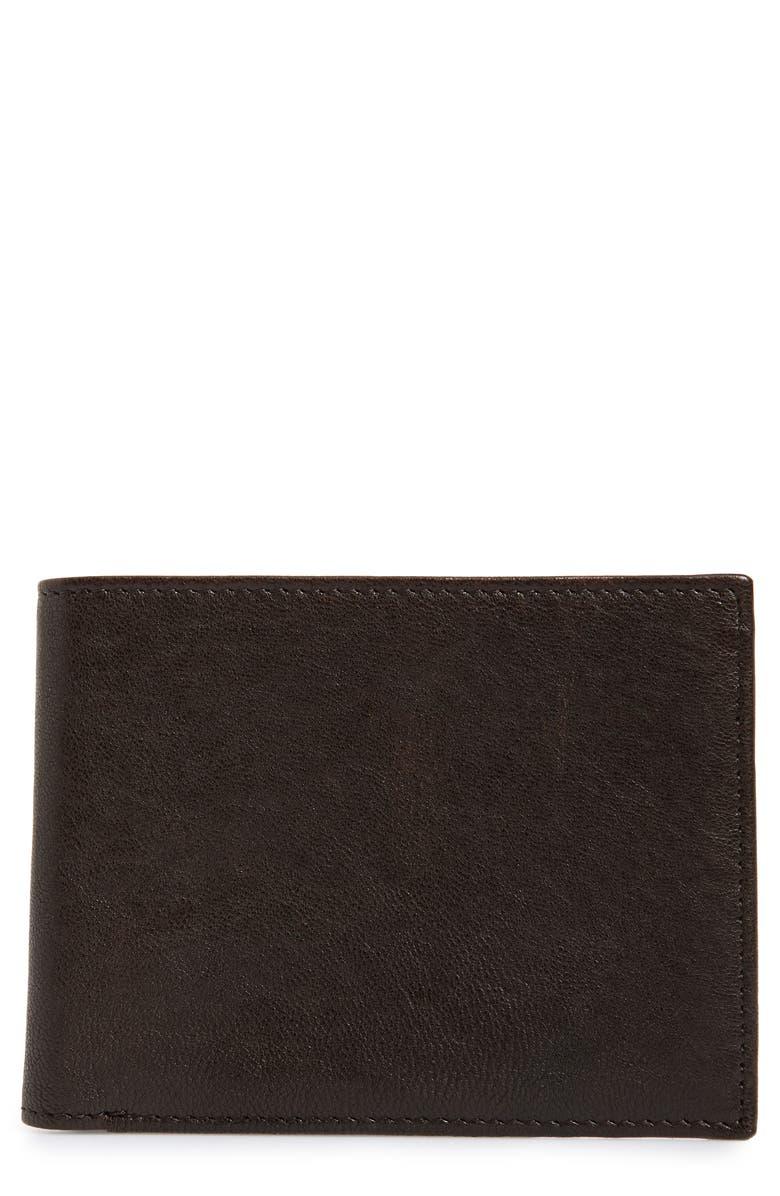 NORDSTROM MEN'S SHOP James Leather Wallet, Main, color, BROWN JAVA