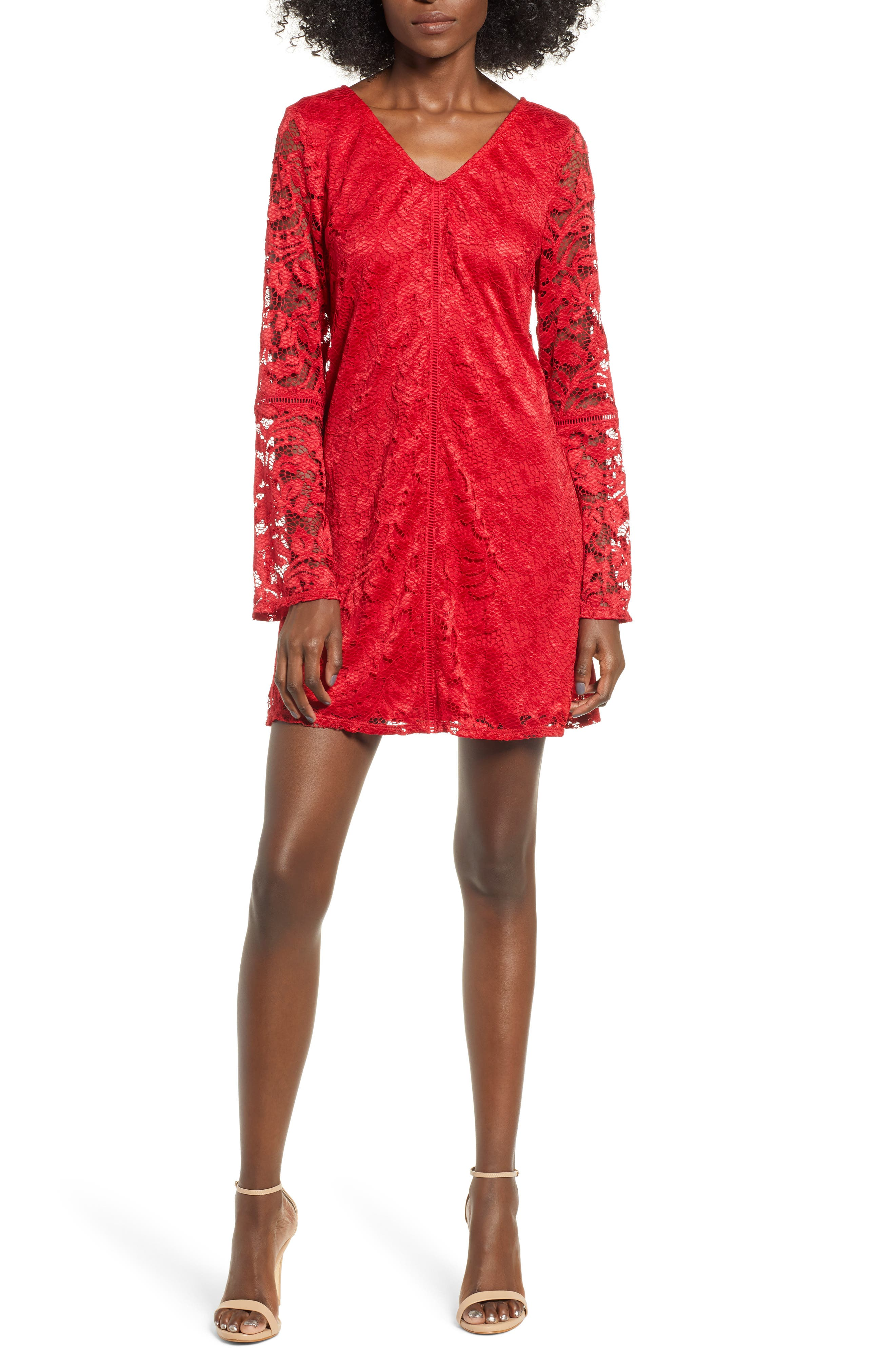 Speechless Lace Neck Shift Dress, Red