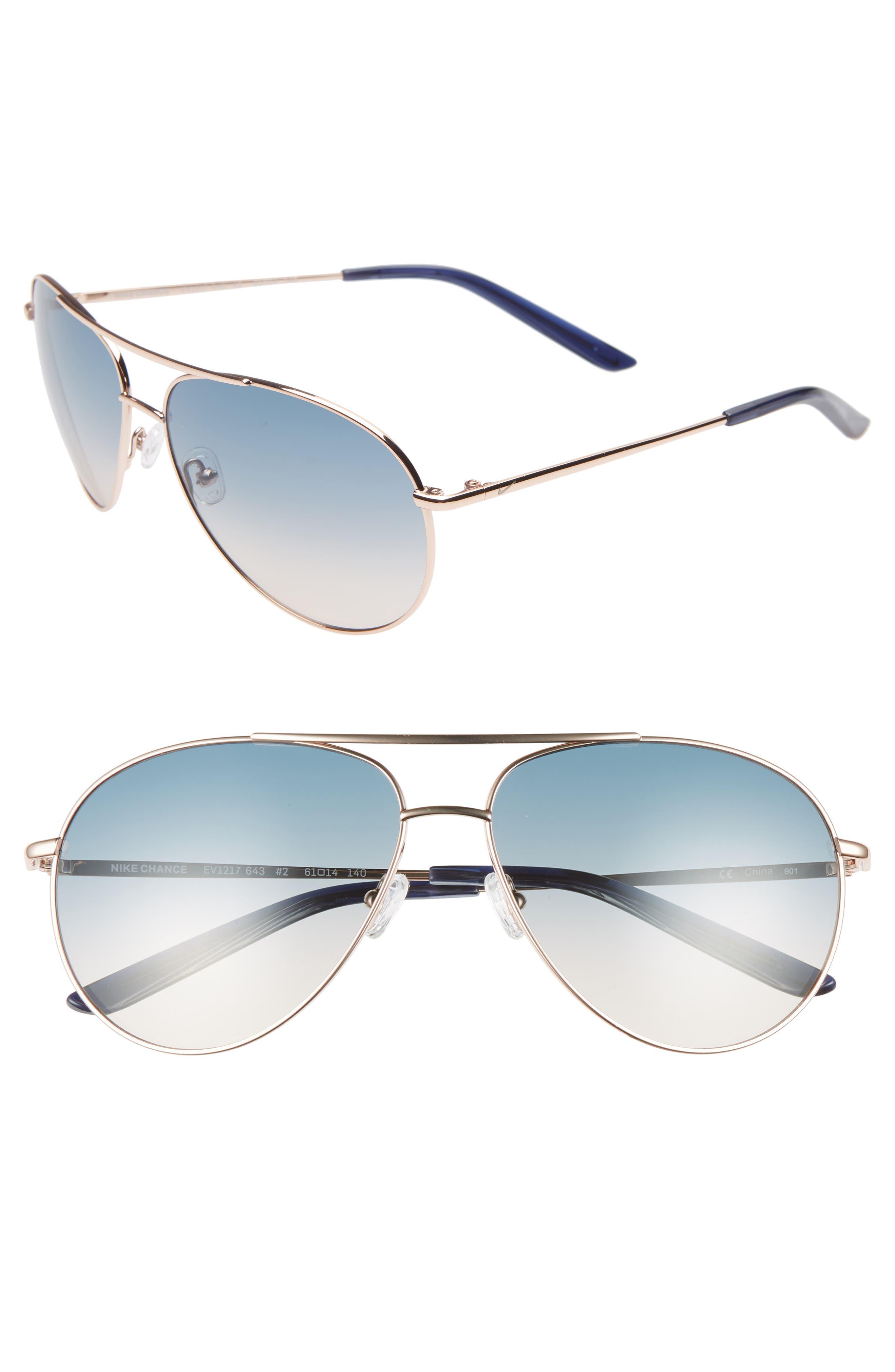 Nike Chance 61Mm Aviator Sunglasses - Rose Gold/ Navy Gradient